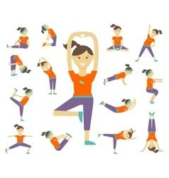 Female yoga poses vector