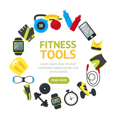 Fitness tools round design template banner card vector