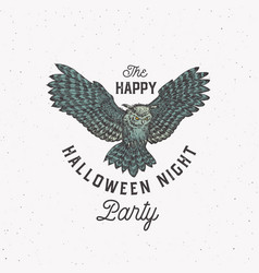 flying owl night party vintage style halloween vector image