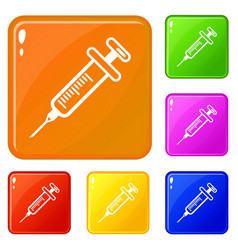 Full syringe icons set color vector