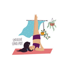 girl doing shoulder stand yoga pose with cat vector image