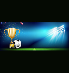 golden trophy cups and soccer ball 004 vector image