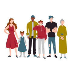 Group people different ages childhood youth vector