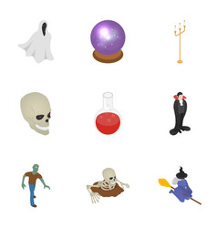 halloween party icon set isometric style vector image