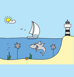 Hand drawn sketch with sailboat shark lighthouse vector