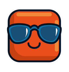 happy emoji with sunglasses square character vector image