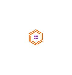house sign polygon line logo vector image