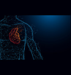 Human heart anatomy form lines and triangles vector