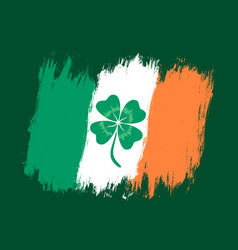 ireland flag with lucky clover vector image