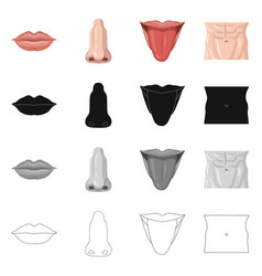 Isolated object of human and part icon collection vector
