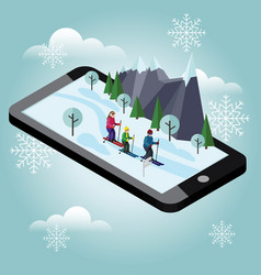 Isometric happy family skiing mobile navigation vector