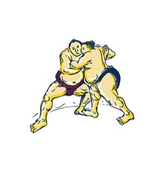 Japanese Sumo Wrestler Wrestling Drawing vector image