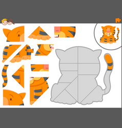 jigsaw puzzle game with tiger animal vector image