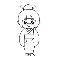 Kawaii japanese girl icon vector