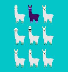 lama alpaca set emotion avatar sad and angry face vector image