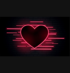 lovely romantic neon heart design vector image