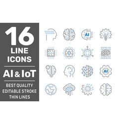 Machine learning ai iot line icons set vector