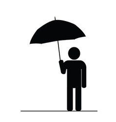 man with umbrella black vector image
