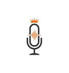Microphone king record logo icon vector