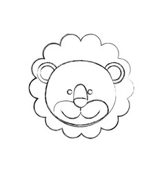 Monochrome blurred contour with male lion head vector