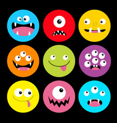 Monster head round icon set boo spooky screaming vector