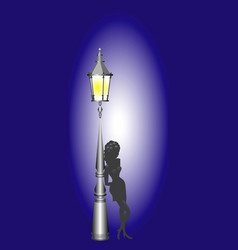 Night lamp and girl vector