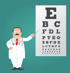 Optician doctor with snellen eye chart doctor vector