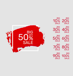 paint red banner collection off with share vector image