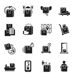 parcel delivery icon set simple style vector image