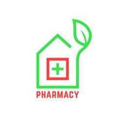Pharmacy logo with contour house vector