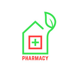 Pharmacy logo with contour of house vector