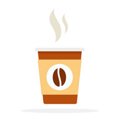 plastic coffee cup with hot smoke and coffee bean vector image