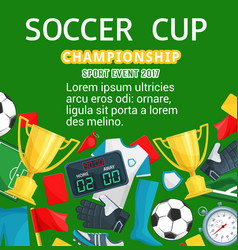Poster for soccer or football cup vector