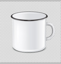 realistic enamel metal white mug isolated vector image