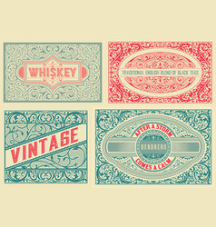 retro card set of 4 templates vetor layered vector image