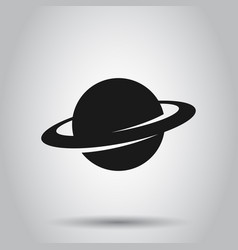 Saturn icon in flat style planet on isolated vector