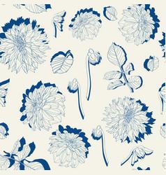 seamless pattern vintage colors line dahlia vector image