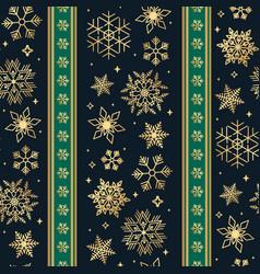 seamless ribbon with christmas golden snowflake vector image