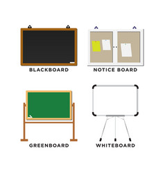 set of blackboard greenboard whiteboard and vector image