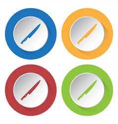 set of four icons - kitchen knife vector image