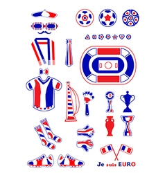 Set of french football elements vector