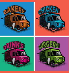 Set of multicolored templates for fast food vector