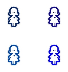 Set of paper stickers on white background girl in vector