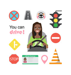 set of road symbols and black african american vector image