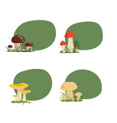 set stickers with cartoon mushrooms vector image