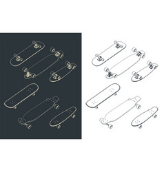 skateboards isometric drawings vector image