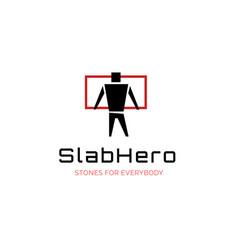 slab company logo with hero man and slab vector image