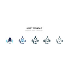 Smart assistant icon in different style two vector
