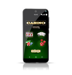 Smartphone showing different offers of the casino vector