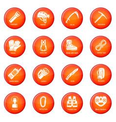 Speleology equipment icons set red vector